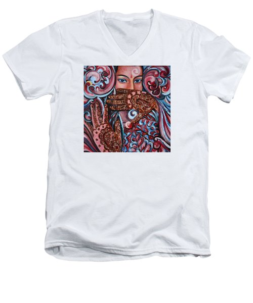 Men's V-Neck T-Shirt featuring the painting Henna by Harsh Malik