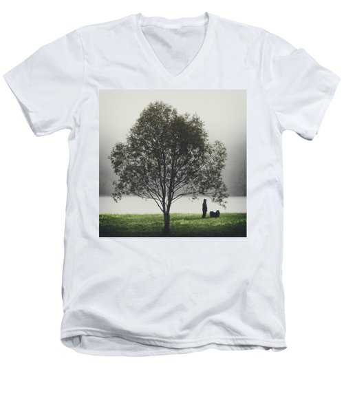 Her Life With A Dog Men's V-Neck T-Shirt by Ari Salmela