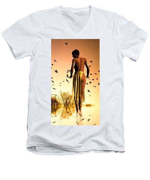 Her Morning Walk Men's V-Neck T-Shirt by Bob Orsillo
