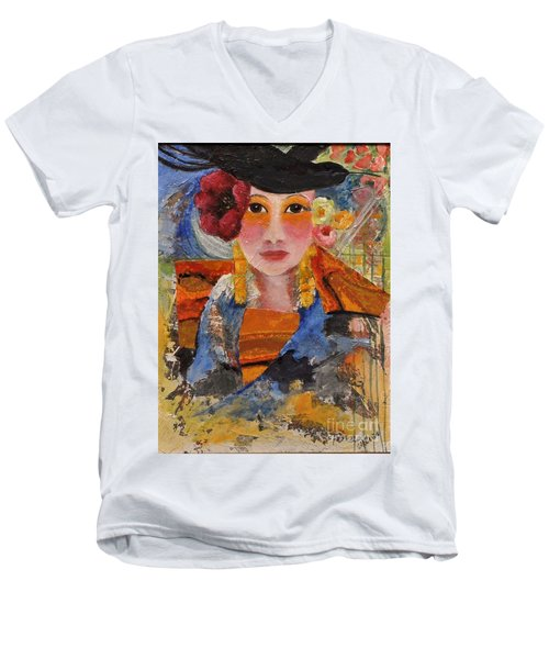 Her Red Flower Men's V-Neck T-Shirt by Glory Wood