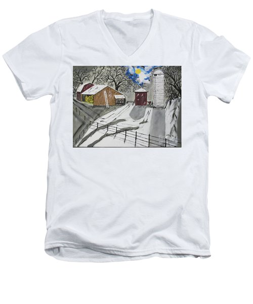 Men's V-Neck T-Shirt featuring the painting Here Comes The Sun by Jeffrey Koss