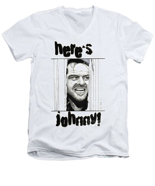 Here's Johnny Men's V-Neck T-Shirt by Cory Still