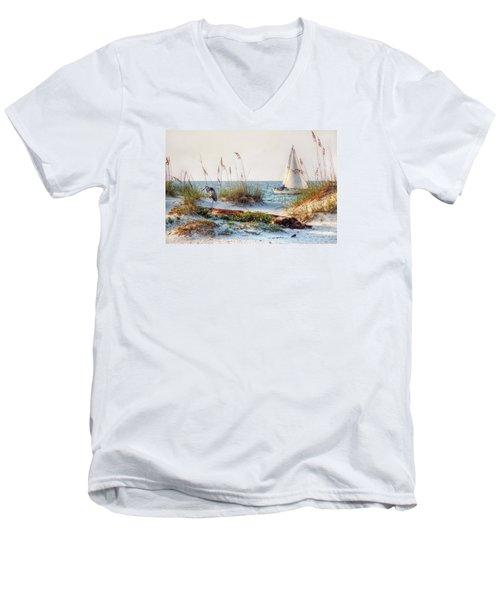 Heron And Sailboat Men's V-Neck T-Shirt