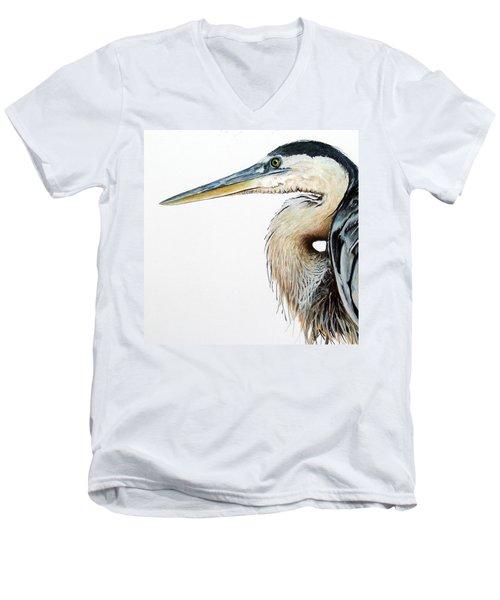 Heron Study Square Format Men's V-Neck T-Shirt