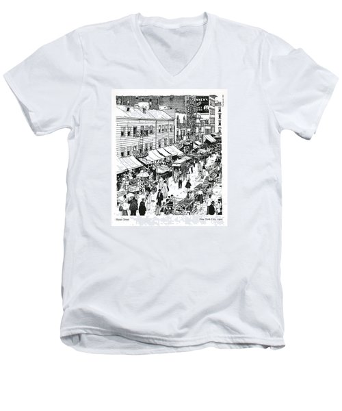 Men's V-Neck T-Shirt featuring the drawing Hester Street by Ira Shander