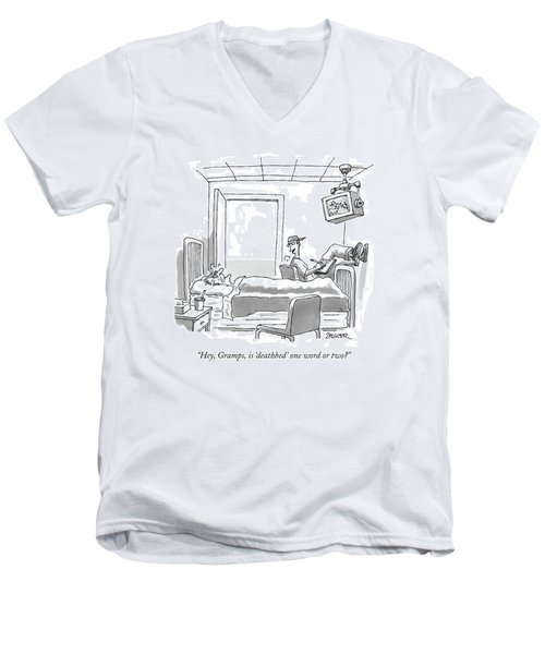 Hey, Gramps, Is 'deathbed' One Word Or Two? Men's V-Neck T-Shirt