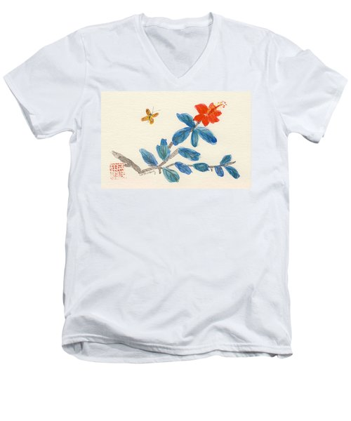 Hibiscus With Butterfly Men's V-Neck T-Shirt