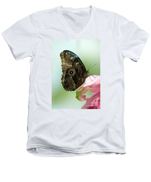 Men's V-Neck T-Shirt featuring the photograph Hidden Beauty Of The Butterfly by Debbie Green