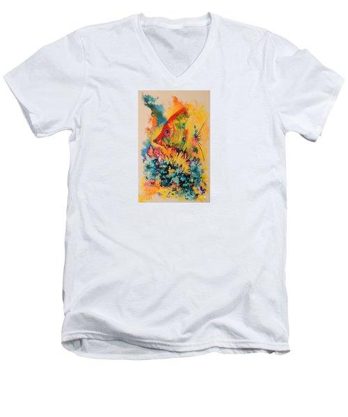 Hiding Amongst The Coral Men's V-Neck T-Shirt by Lyn Olsen