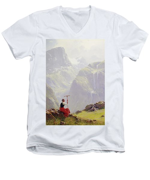 High In The Mountains Men's V-Neck T-Shirt