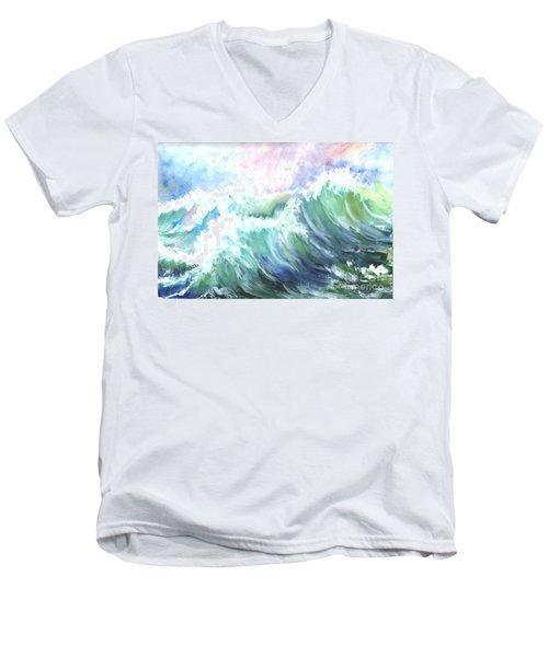 Men's V-Neck T-Shirt featuring the painting High Seas by Carol Wisniewski
