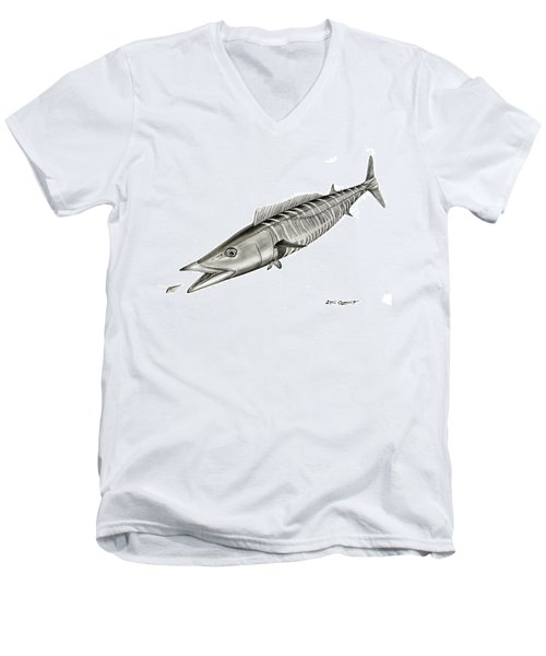 High Speed Wahoo Men's V-Neck T-Shirt by Steve Ozment