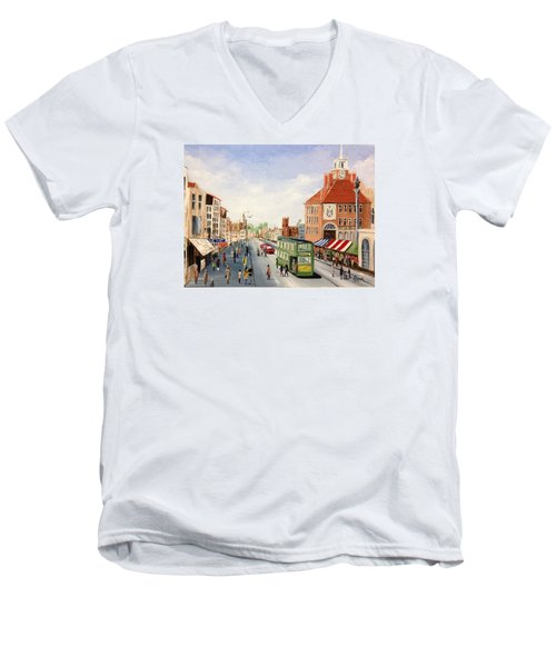 Men's V-Neck T-Shirt featuring the painting High Street by Helen Syron