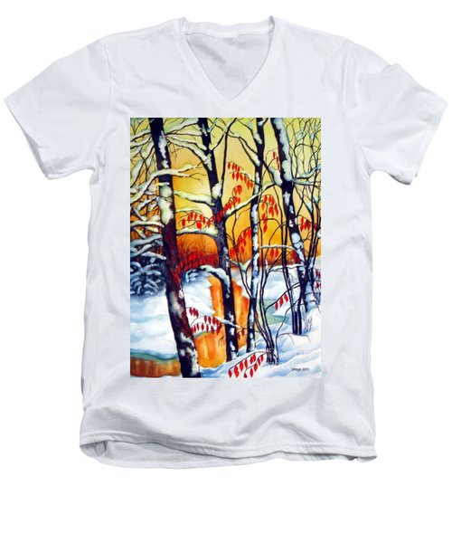 Men's V-Neck T-Shirt featuring the painting Highland Creek Sunset 2  by Inese Poga