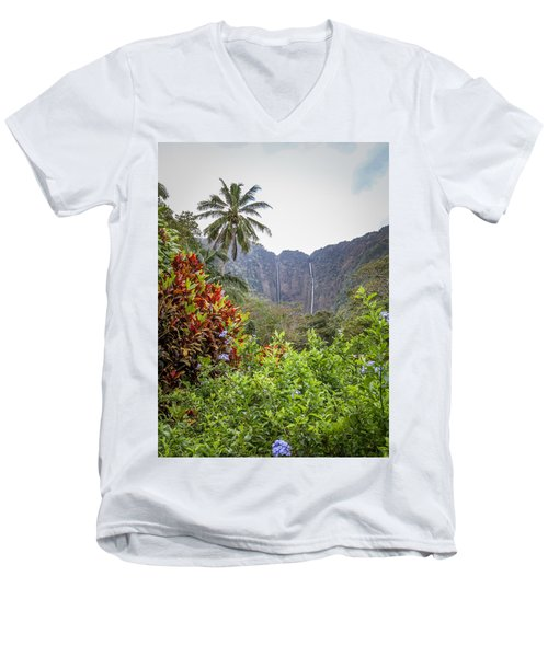 Hiilawe And Hakalaoa Falls Men's V-Neck T-Shirt by Denise Bird