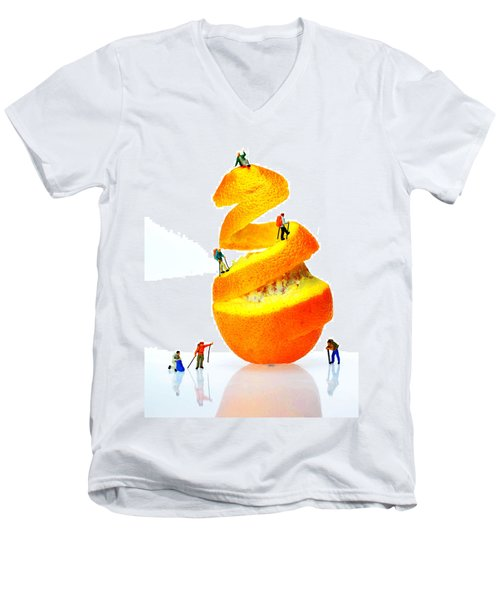 Hikers Climbing Orange Mountain Men's V-Neck T-Shirt