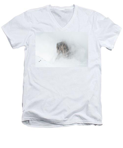 Hiking The Tre Cime In Winter Men's V-Neck T-Shirt