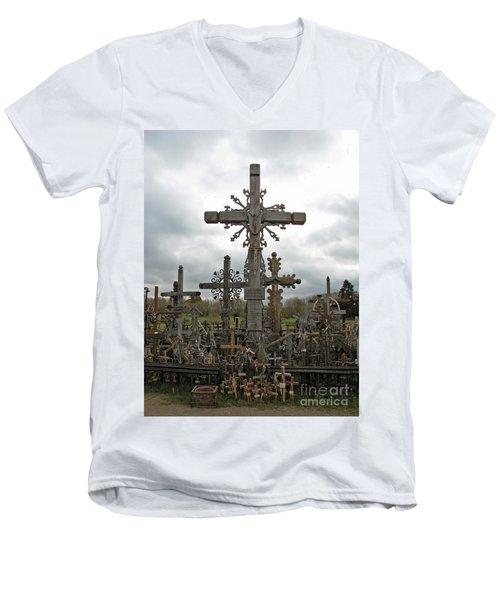 Hill Of Crosses 06. Lithuania.  Men's V-Neck T-Shirt by Ausra Huntington nee Paulauskaite