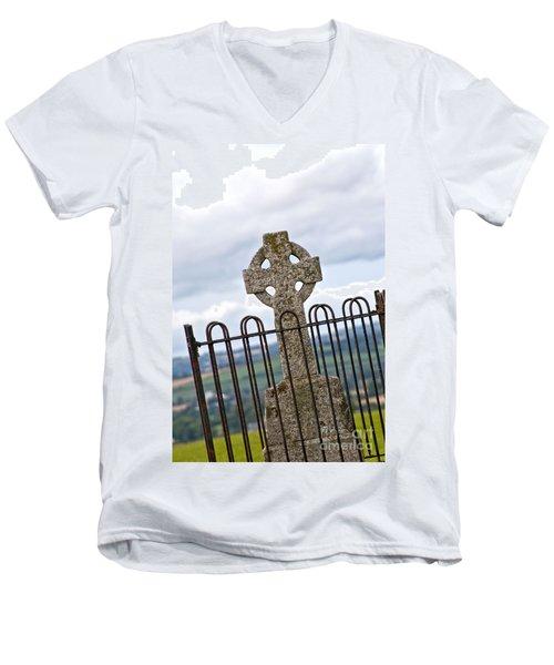 Hill Of Tara Celtic Cross Men's V-Neck T-Shirt