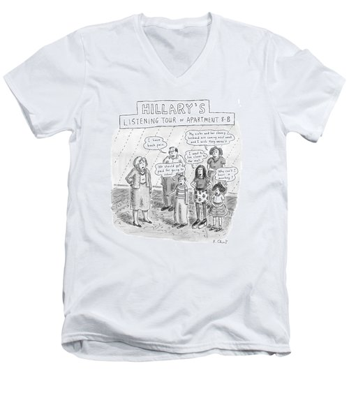 'hillary's Listening Tour Of Apartment 8-b' Men's V-Neck T-Shirt