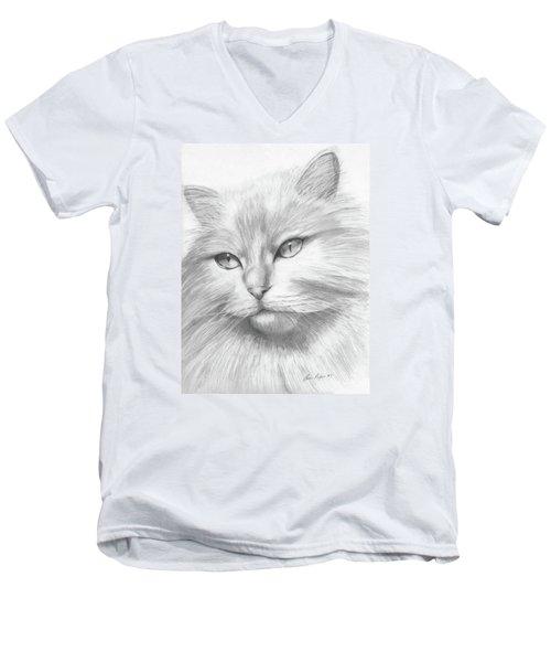 Himalayan Cat Men's V-Neck T-Shirt by Lena Auxier