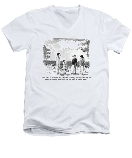 His Serve Is Excellent Men's V-Neck T-Shirt