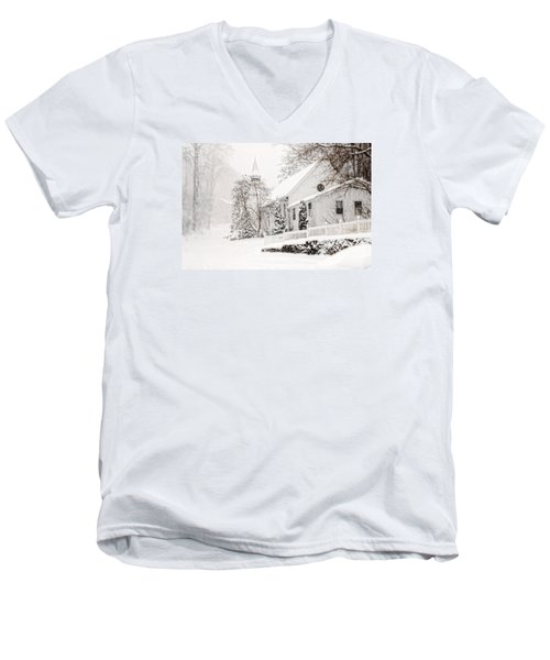 Men's V-Neck T-Shirt featuring the photograph Historic Church In Oella Maryland During A Blizzard by Vizual Studio