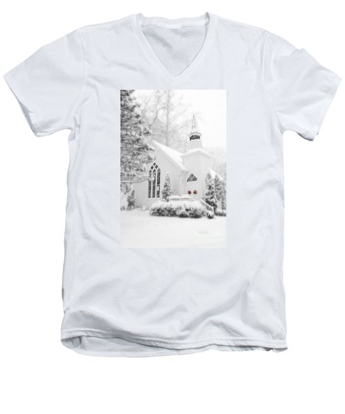 Men's V-Neck T-Shirt featuring the photograph White Christmas In Oella Maryland Usa by Vizual Studio
