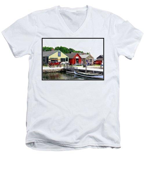 Historic Mystic Seaport Men's V-Neck T-Shirt by Dora Sofia Caputo Photographic Art and Design