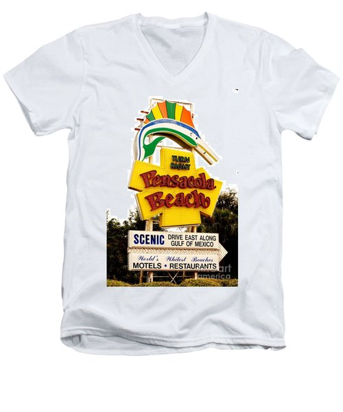 Historic Pensacola Beach Sign Men's V-Neck T-Shirt by Janice Spivey
