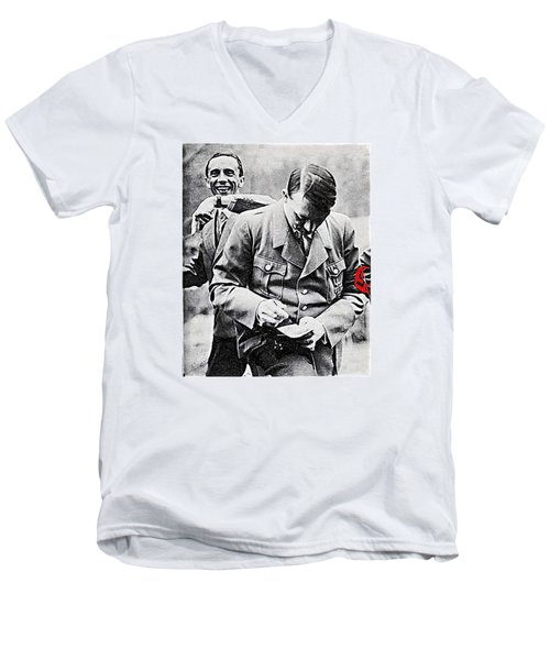 Hitler And Goebbels  As The German Chancellor Signs An Autograph  Men's V-Neck T-Shirt