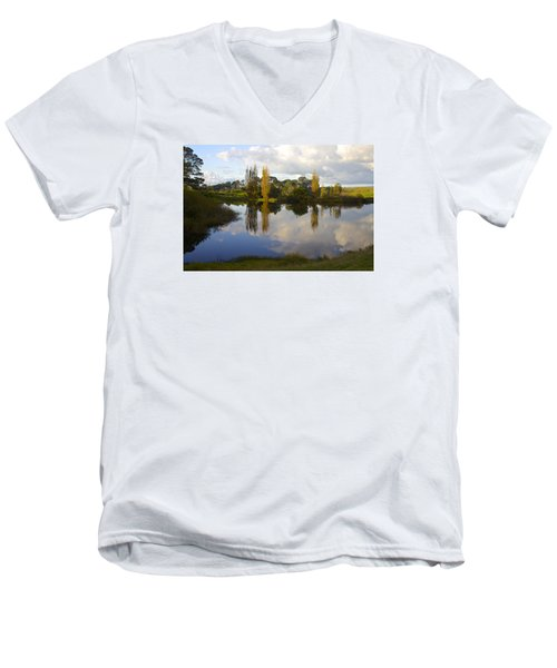 Autumn At Hobbiton Lake New Zealand Men's V-Neck T-Shirt by Venetia Featherstone-Witty
