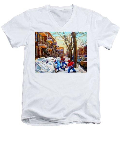 Hockey Art - Paintings Of Verdun- Montreal Street Scenes In Winter Men's V-Neck T-Shirt