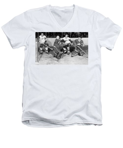 Hockey Goalie Chin Stops Puck Men's V-Neck T-Shirt