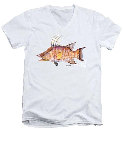 Hog Fish Men's V-Neck T-Shirt by Carey Chen