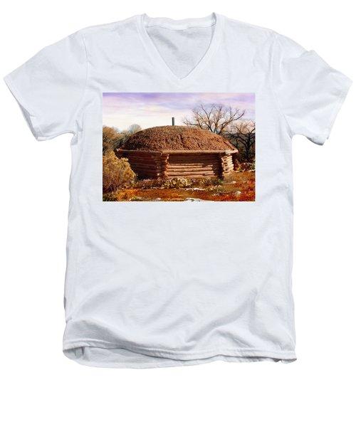 Hogan Monument Valley Winter Painting Men's V-Neck T-Shirt by Bob and Nadine Johnston