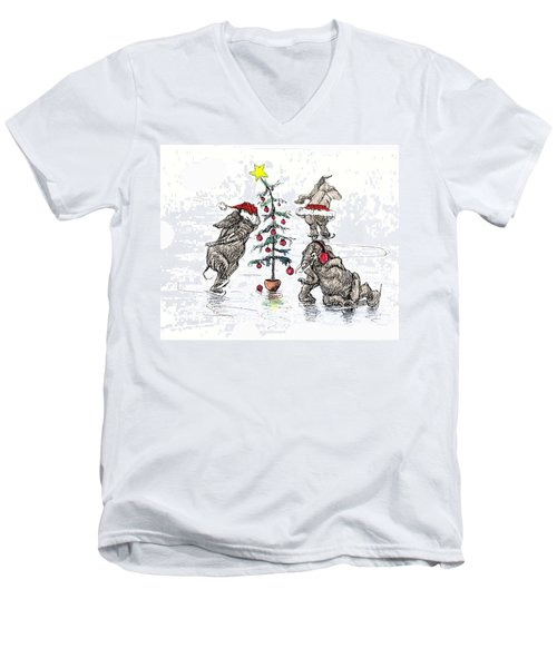Holiday Ice Men's V-Neck T-Shirt by Donna Tucker