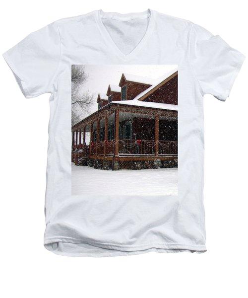 Holiday Porch Men's V-Neck T-Shirt by Claudia Goodell