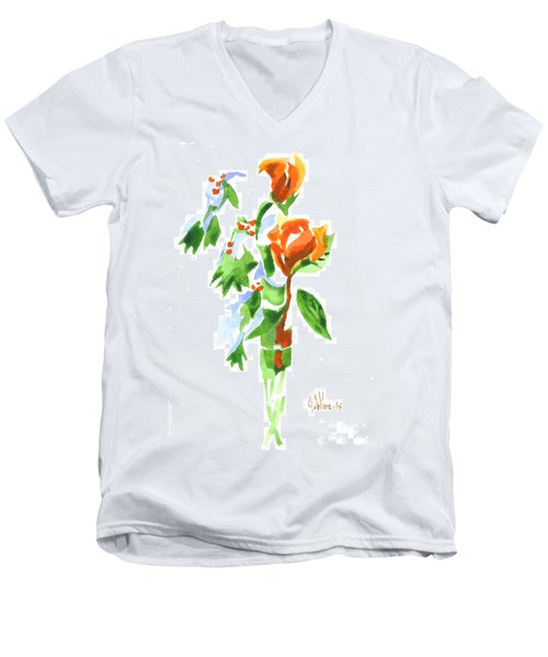 Men's V-Neck T-Shirt featuring the painting Holly With Red Roses In A Vase by Kip DeVore