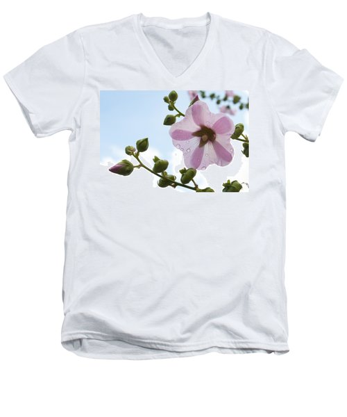 Hollyhock With Raindrops Men's V-Neck T-Shirt by Lana Enderle