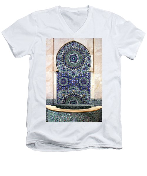 Holy Water Fountain Hassan II Mosque Sour Jdid Casablanca Morocco  Men's V-Neck T-Shirt