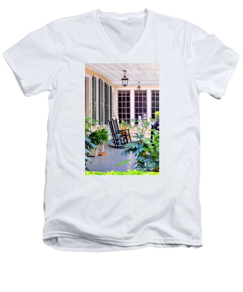 Veranda - Charleston, S C By Travel Photographer David Perry Lawrence Men's V-Neck T-Shirt by David Perry Lawrence