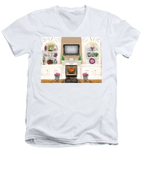 Men's V-Neck T-Shirt featuring the digital art Home For The Holidays by Christine Fournier
