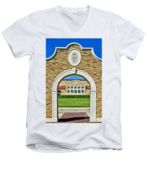 Men's V-Neck T-Shirt featuring the photograph Homecoming Bonfire Arch by Mae Wertz