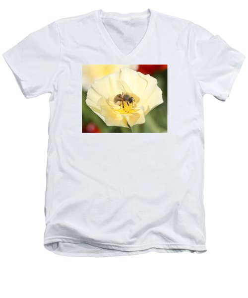 Honeybee On Cream Poppy Men's V-Neck T-Shirt by Lucinda VanVleck