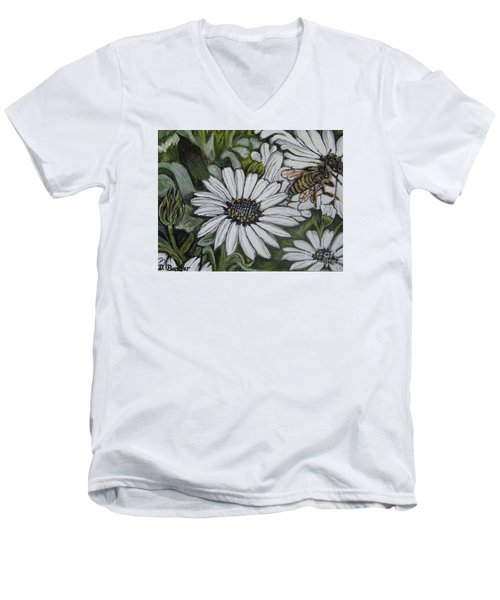 Honeybee Taking The Time To Stop And Enjoy The Daisies Men's V-Neck T-Shirt by Kimberlee Baxter