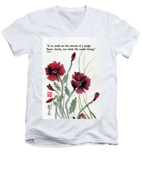 Men's V-Neck T-Shirt featuring the painting Honor With Buddha Quote I by Bill Searle