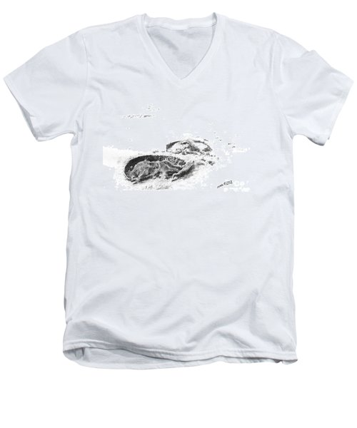 Men's V-Neck T-Shirt featuring the drawing Hoof Prints by Marianne NANA Betts