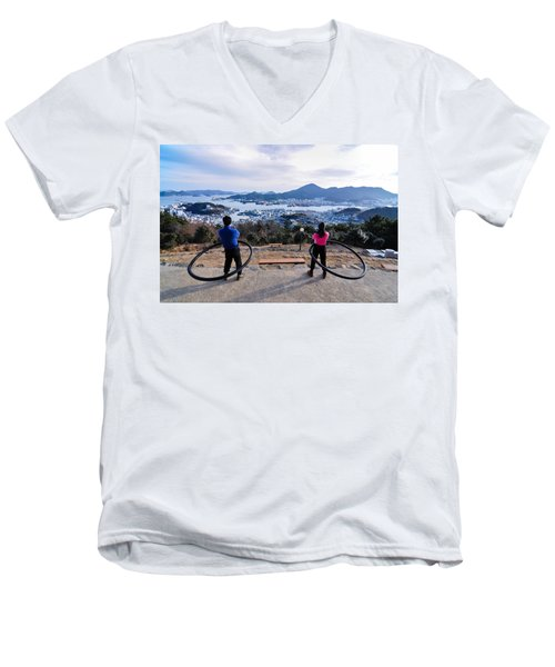 Hoops On The Mountaintop Men's V-Neck T-Shirt