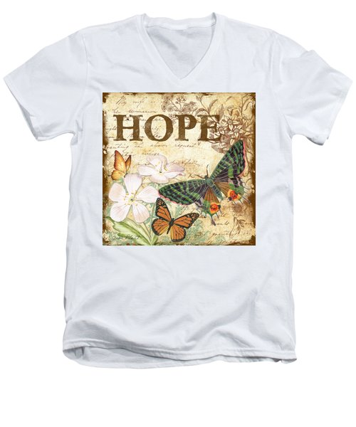 Hope And Butterflies Men's V-Neck T-Shirt by Jean Plout